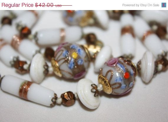 Easter Sale Venetian Art Glass Necklace Murano Milk by patwatty