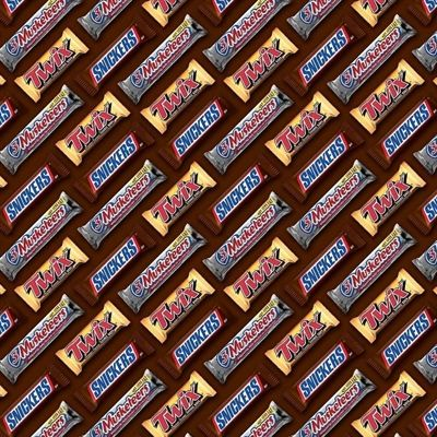 521fe71c96bdb Candy Bars Twix 3 Musketeers, Snickers Bars Brown Cotton Fabric ...