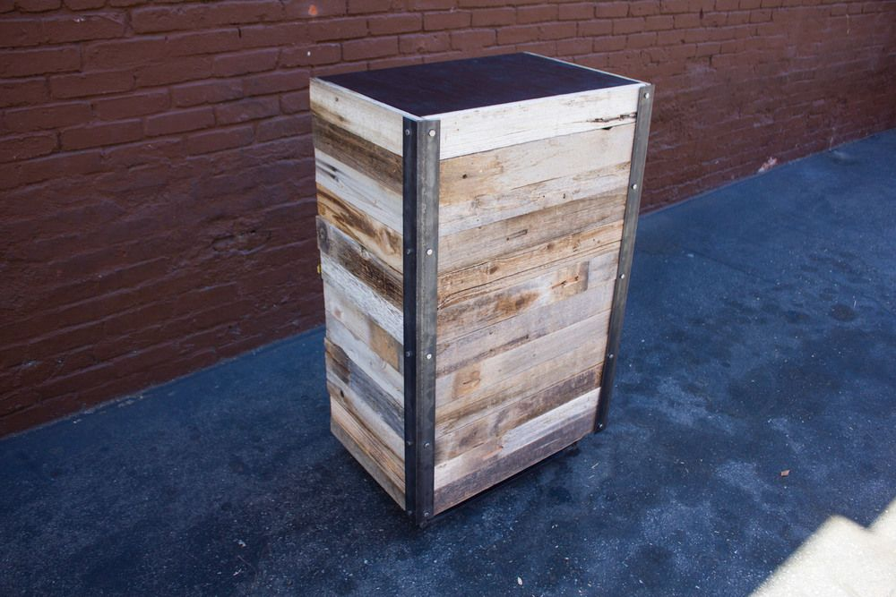 Reclaimed wood and steel standing desk with cabinet underneath