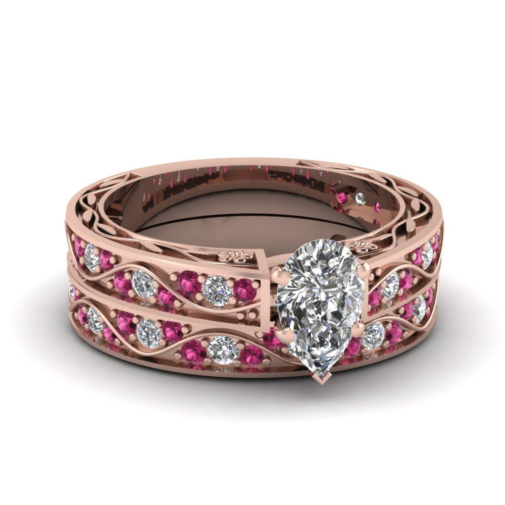 Antique Wedding Ring Set Marquise Shaped diamond Wedding Ring Sets with Pink Sapphire in 14K Rose Gold exclusively styled by Fascinating Diamonds