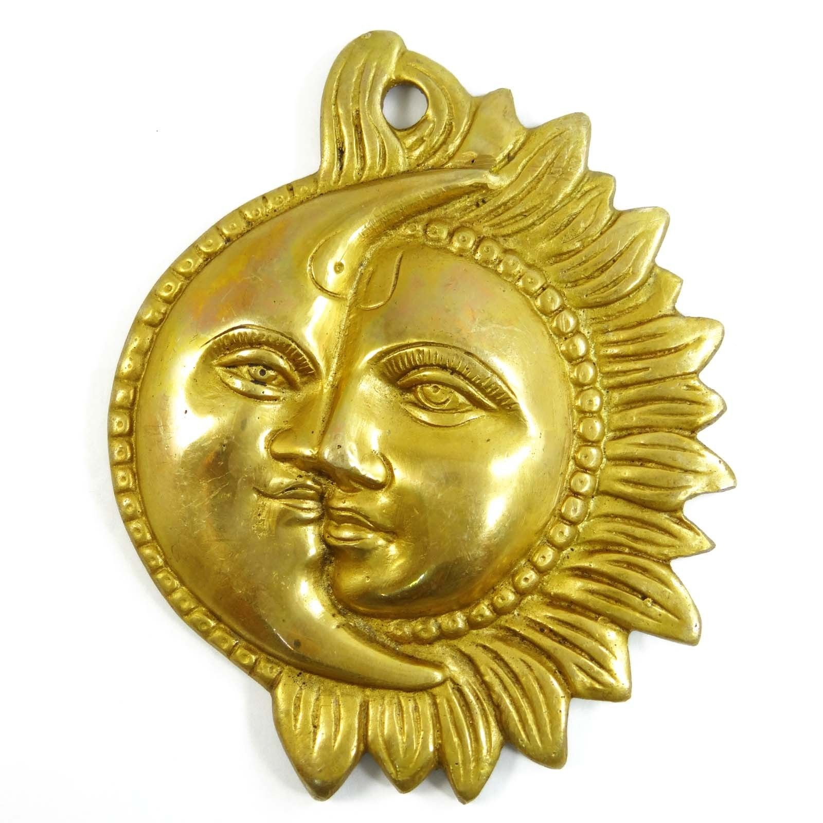 Sun and Moon Design Wall Hanging Indian Brass Statue Home Wall ...