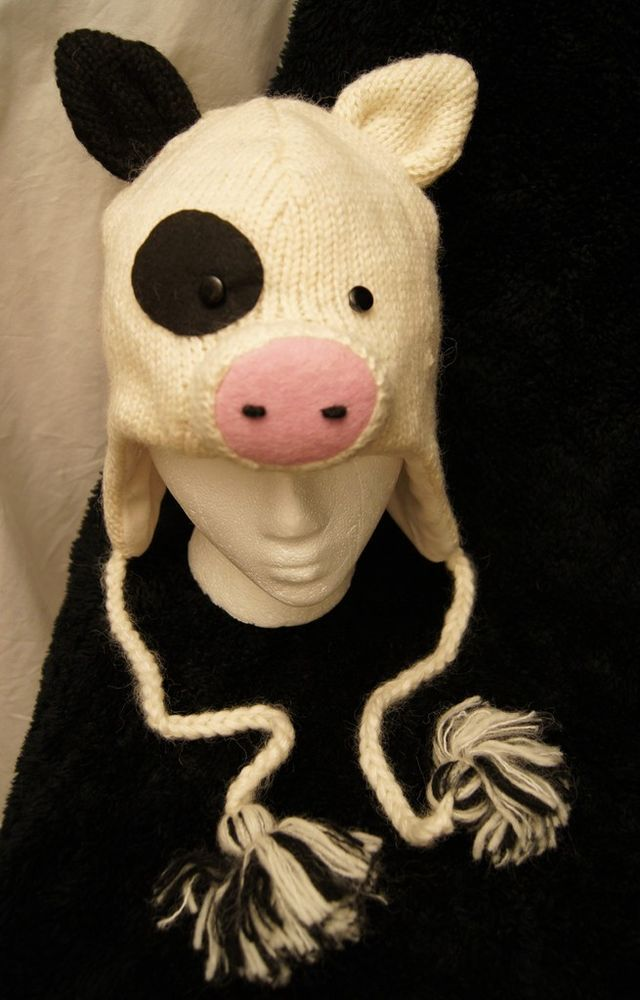 14525bd3747 deLux ~ HAMPSHIRE PIG HAT black white CAP toque beanie costume LINED knit  ADULT  handmade  HAT