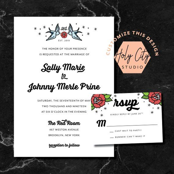 ROSE TATTOO INVITATION / Tattoo Wedding Invitation / Punk Wedding Invitation / Custom Wedding Invitation / Nautical Wedding Invitation