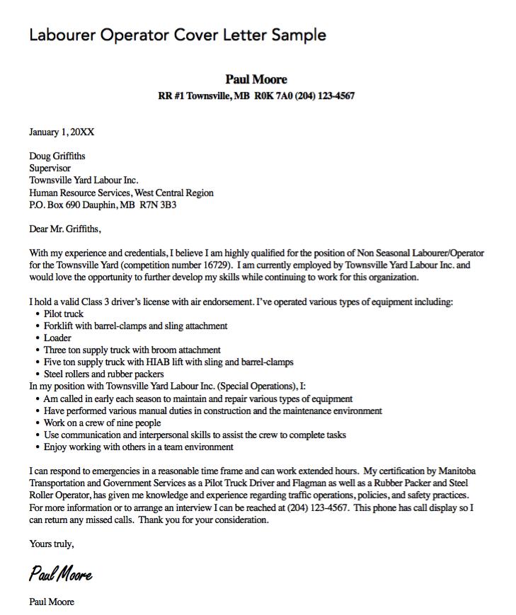 labourer operator cover letter http exampleresumecv org labourer