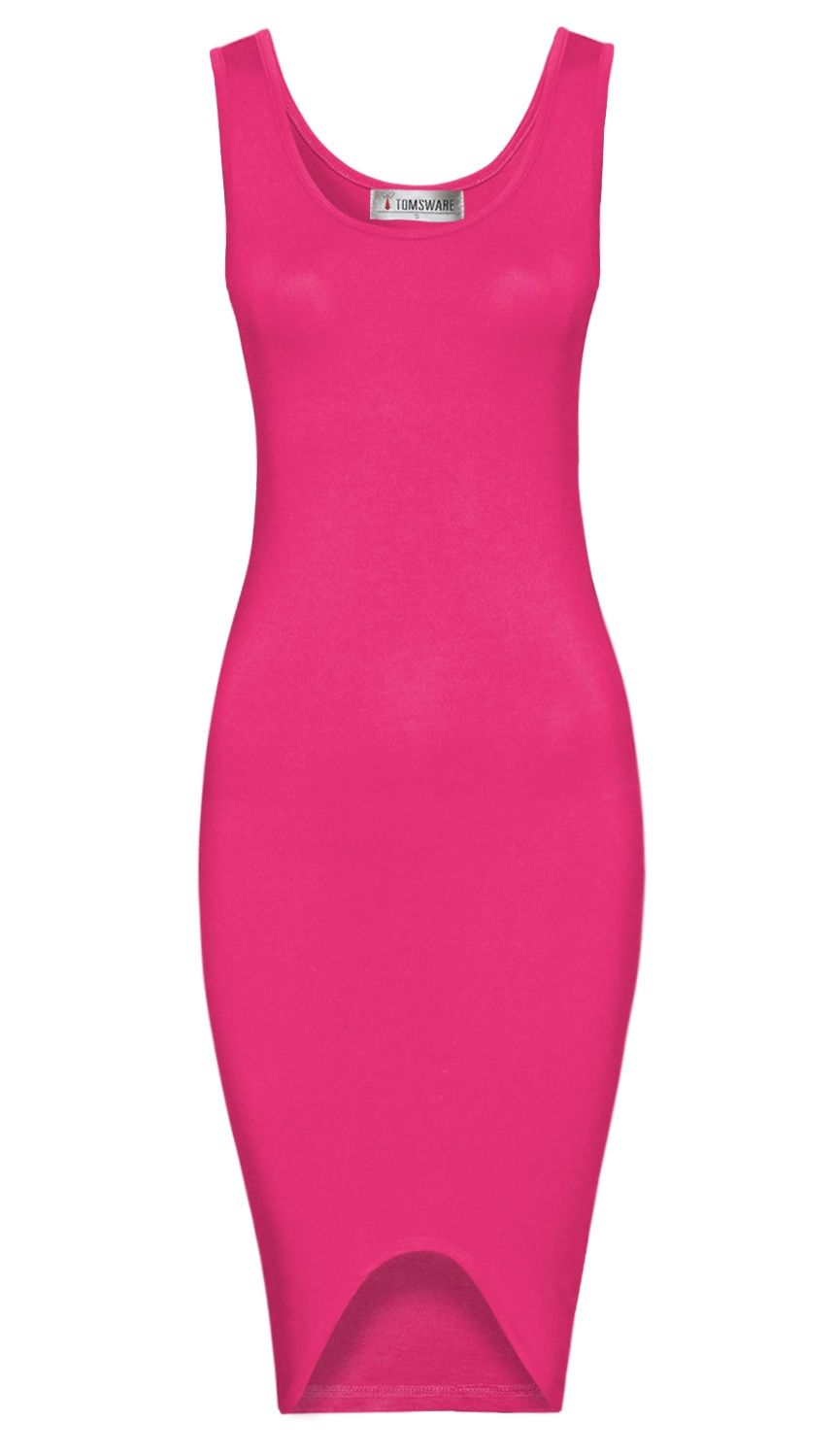 57b9b8a1112 TAM WARE Women Elegant Sleeveless Dipped Hem Bodycon Midi Dress Elegant