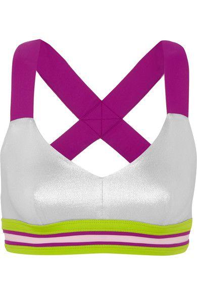 NO KA'OI Ola striped metallic sports bra. #nokaoi #cloth #yoga