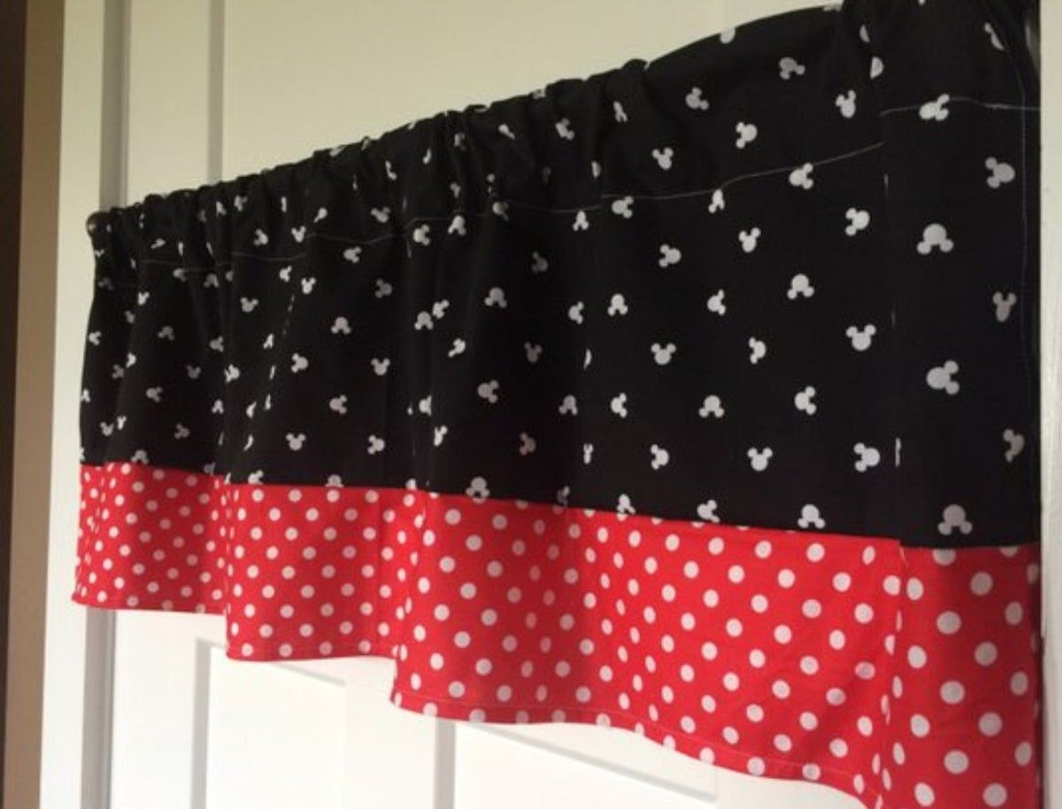 Red Black Polka Dot Mickey Minnie Mouse Kitchen Fabric Curtain Topper Valance Window Treatments Hardware Enterprisesupport Garden Curtains