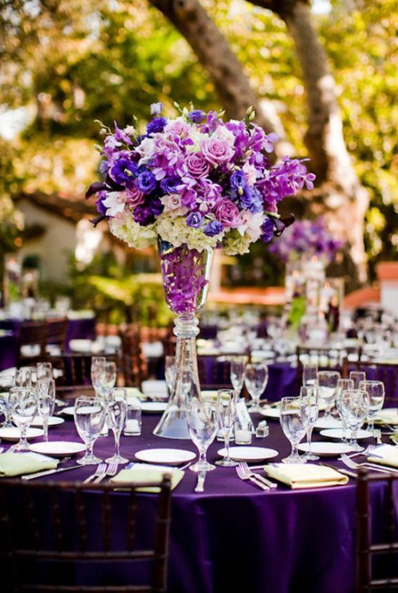 Purple Wedding Theme Elegant Tall Centerpiece Jpg