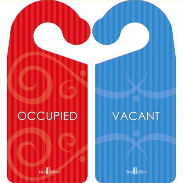 Privacy Door Hanger Signs Occupied Or Vacant Room Signs Doorknob Hangers Bathroom Signs