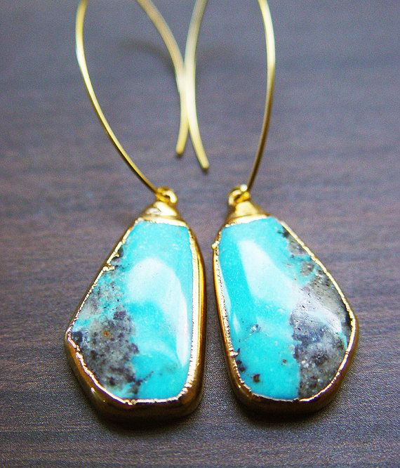 Sleeping Beauty Turquoise Earrings 14k Gold