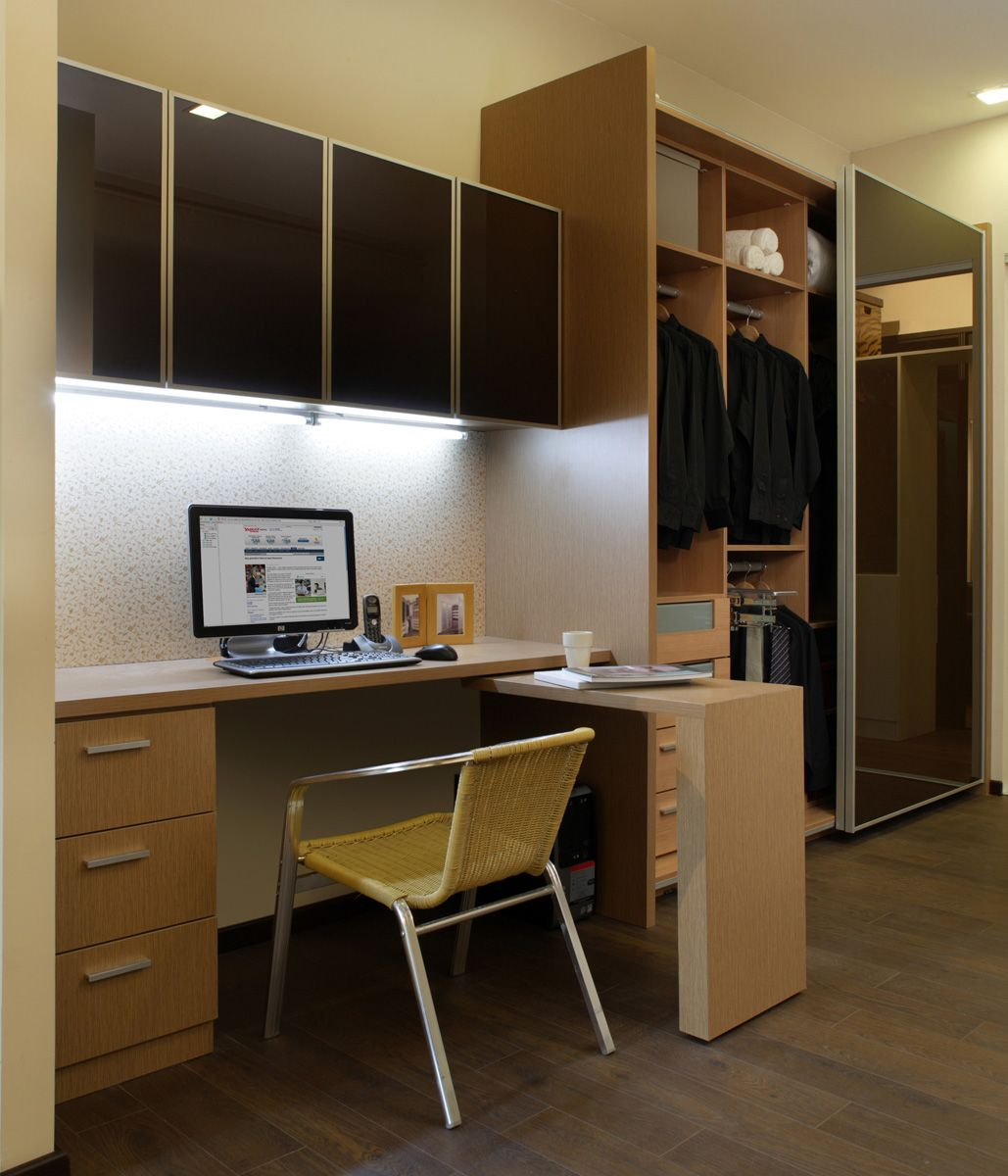 New Home Designs Latest Homes Interior Designs Studyrooms: Study Table With Wall Cabinet & Wardrobe