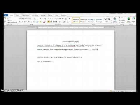 creating an apa format annotated bibliography in word for mac