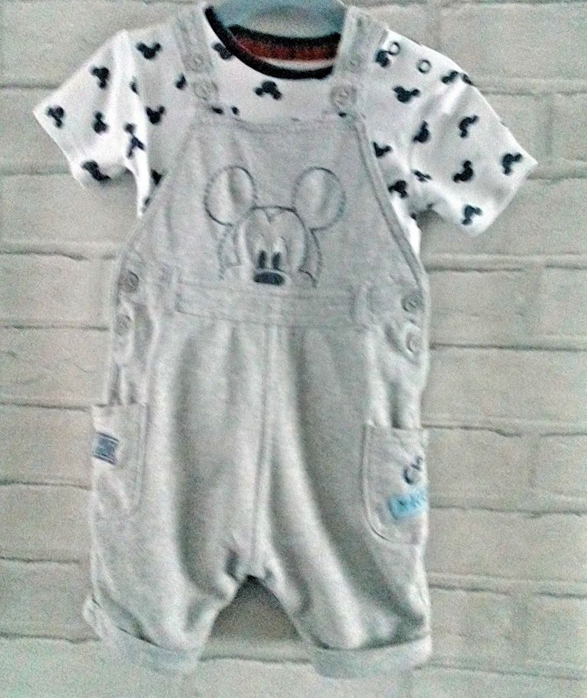 fed742fb0 Baby Boys Disney Mickey Top And Short Dungarees Set 9-12 months  #DisneyGeorge