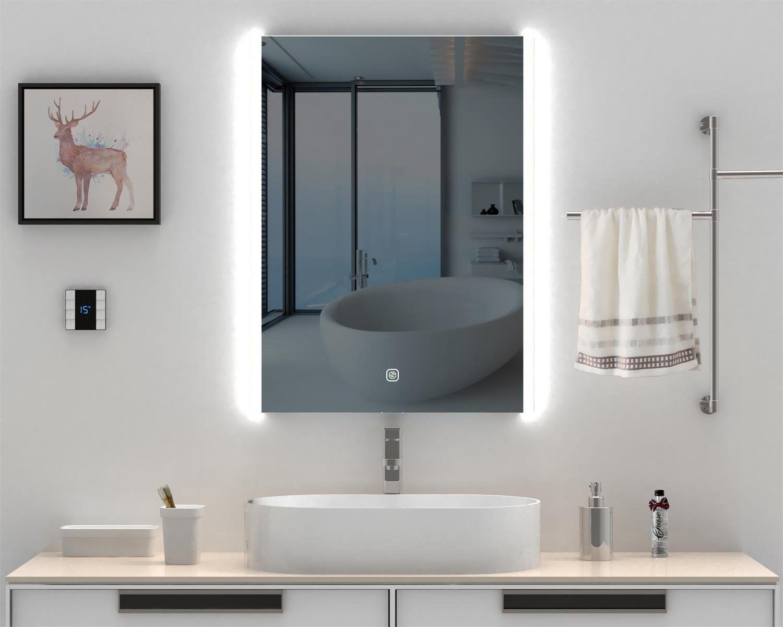 Lighted LED Frameless Backlit Wall Mirror Illuminated Rectangle ...