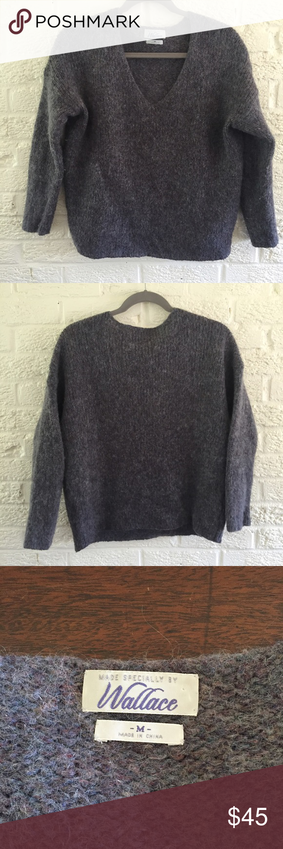Madewell mohair wool sweater •Mohair wool blue and grey blend •Crew neck pullover style sweater •Super warm and lightweight  •In perfect condition  •Size medium but would also work well for a small for a slightly looser look Madewell Sweaters Crew & Scoop Necks