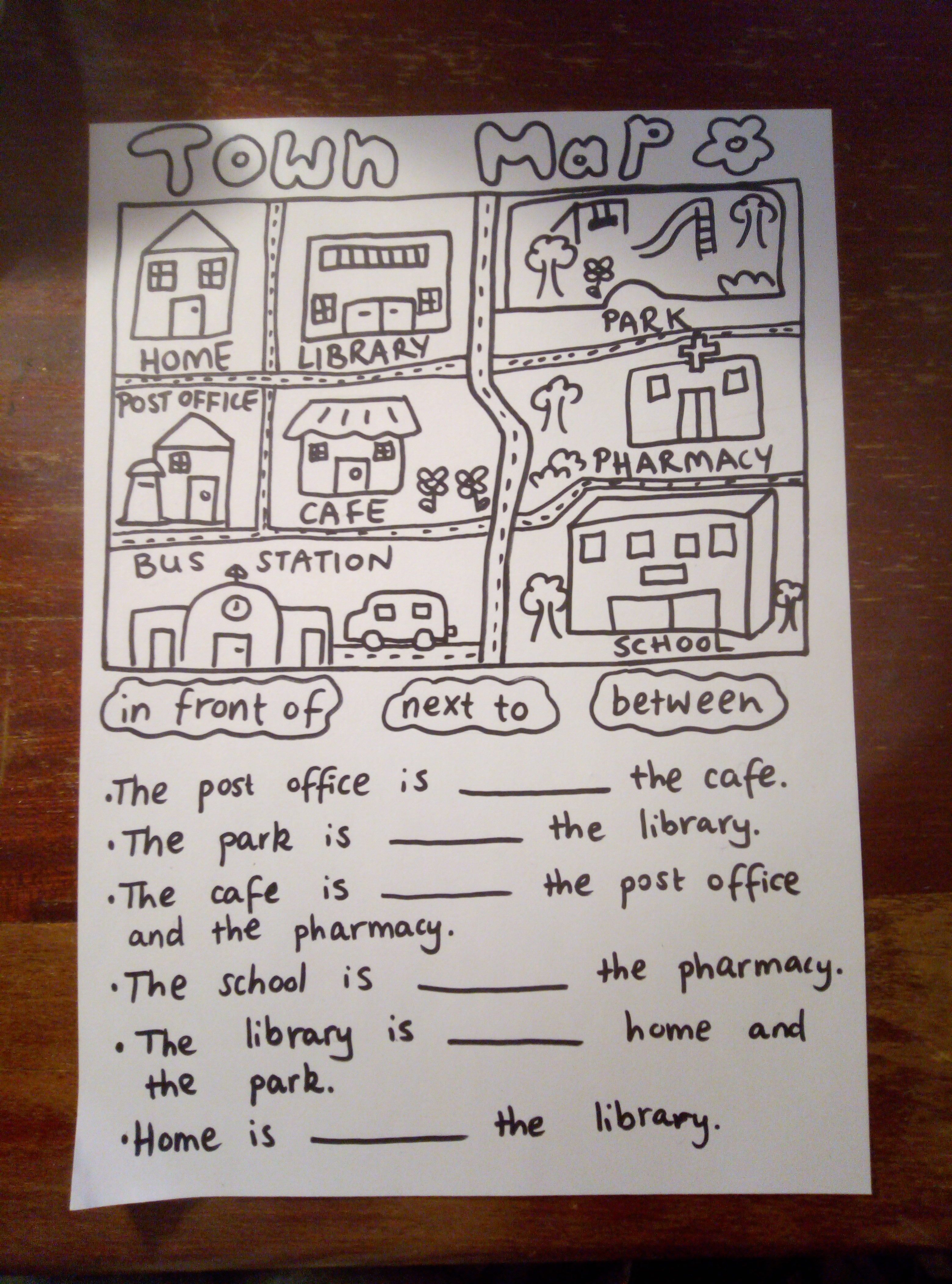 Town Map Prepositions Worksheet For Esl Students