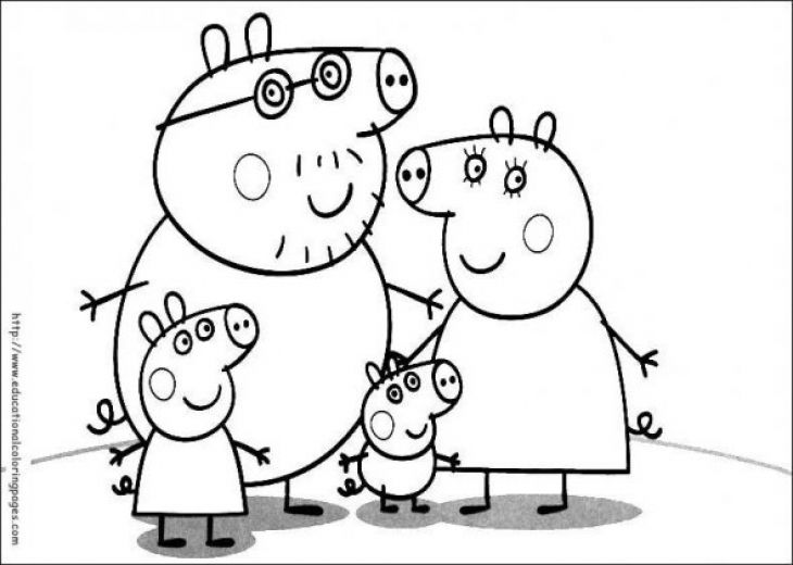 Free printable Peppa Pig family coloring page for preschoolers