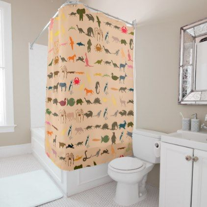 #Colorful Animals Pattern #2 Shower Curtain - #Bathroom #Accessories #home #living
