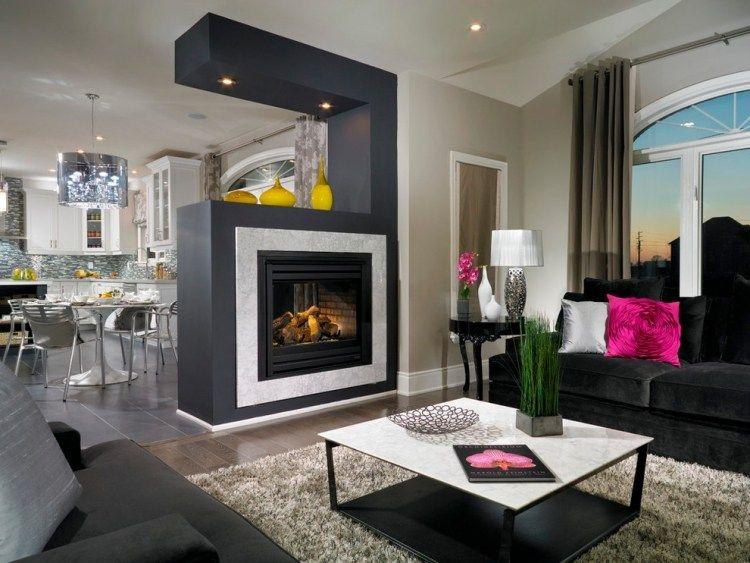 Modernes Wohnzimmer Holz Kamin Raumteiler Essbereich 750×563 Pixel