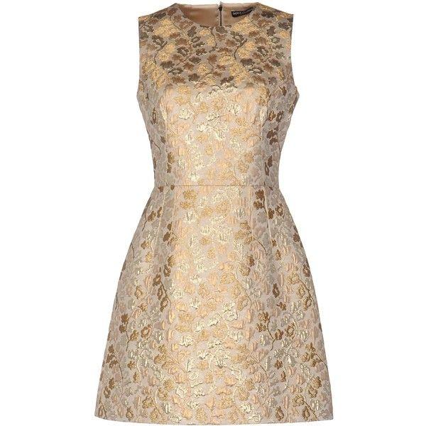 Dolce & Gabbana Short Dress (3.327.830 COP) ❤ liked on Polyvore featuring dresses, platinum, short dresses, tent dresses, brocade cocktail dress, sleeveless short dress and sleeveless swing dress