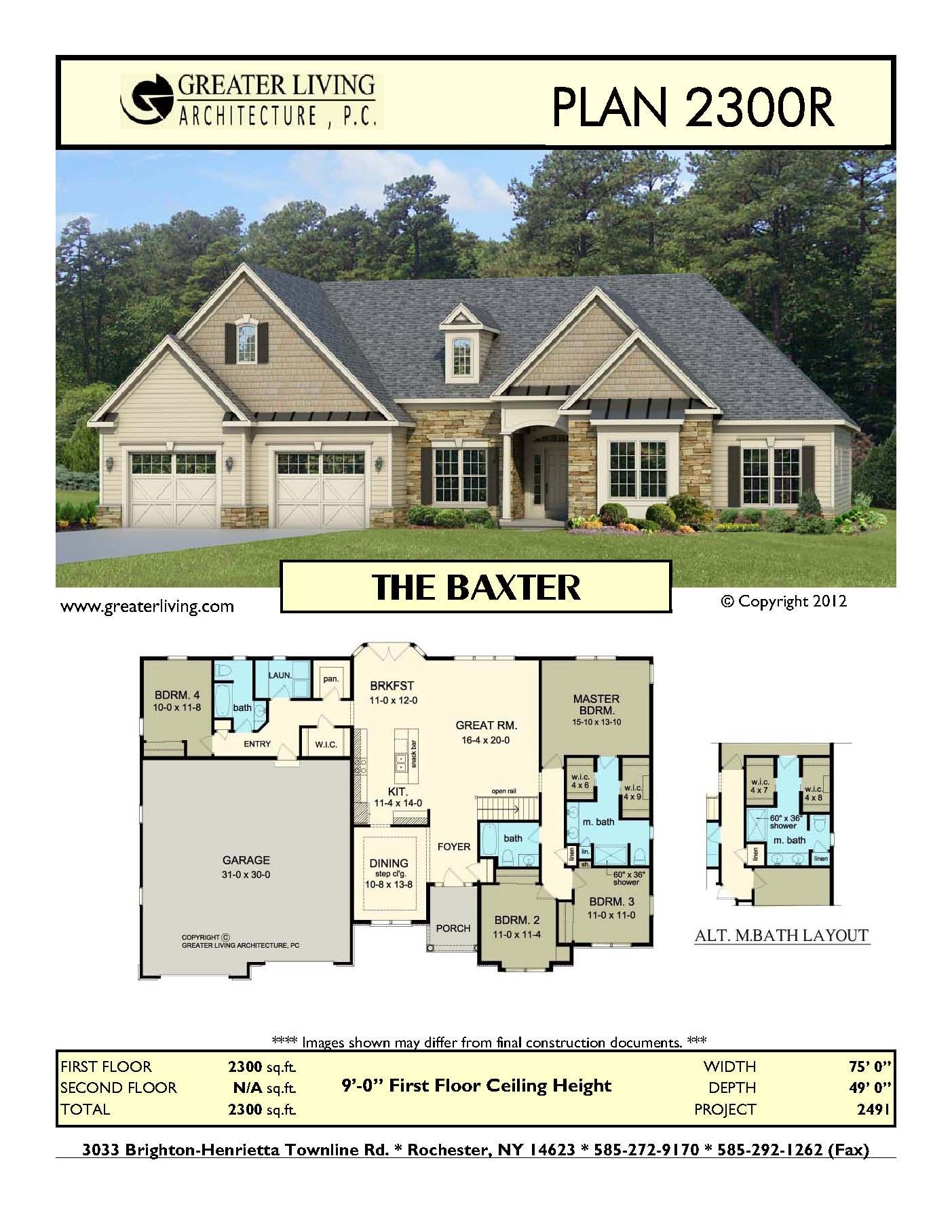 Plan 2300r The Baxter House Plans Ranch House Plan Greater Living Architecture Residentia My House Plans New House Plans Open Concept Floor Plans Ranch