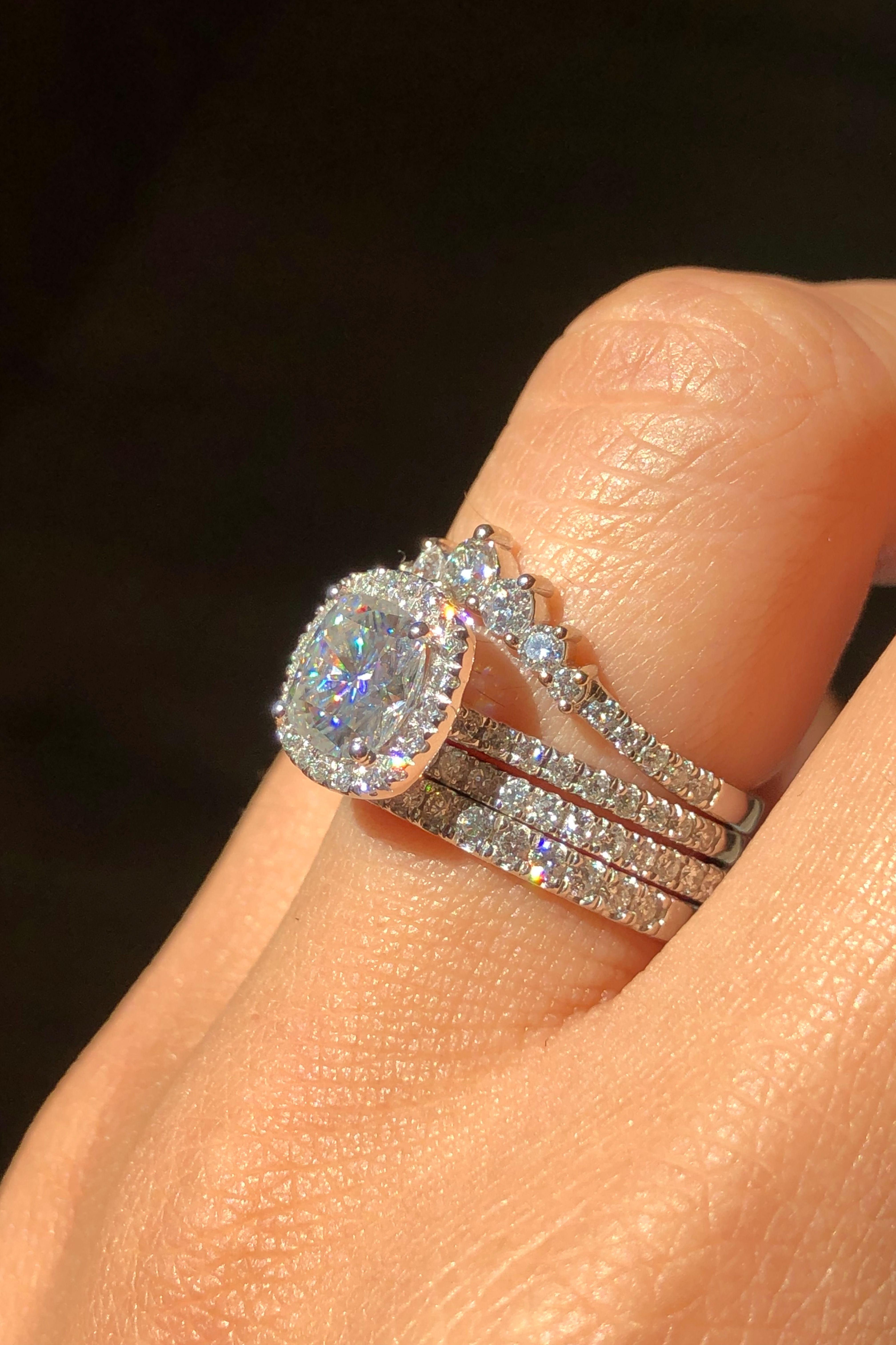 White Gold Halo Moissanite Bridal Ring Set By La More Design Diamond Wedding Bands Classic Wedding Rings Wedding Ring Sets