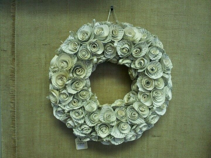 A beautiful paper rose wreath by Maure's Creations