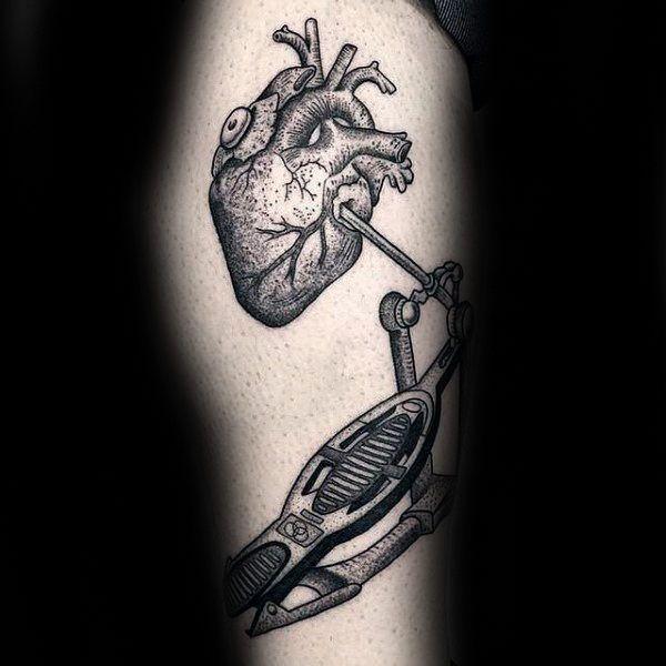 Heart With Drum Mens Leg Tattoos Drum Tattoo Drummer Tattoo Tattoos