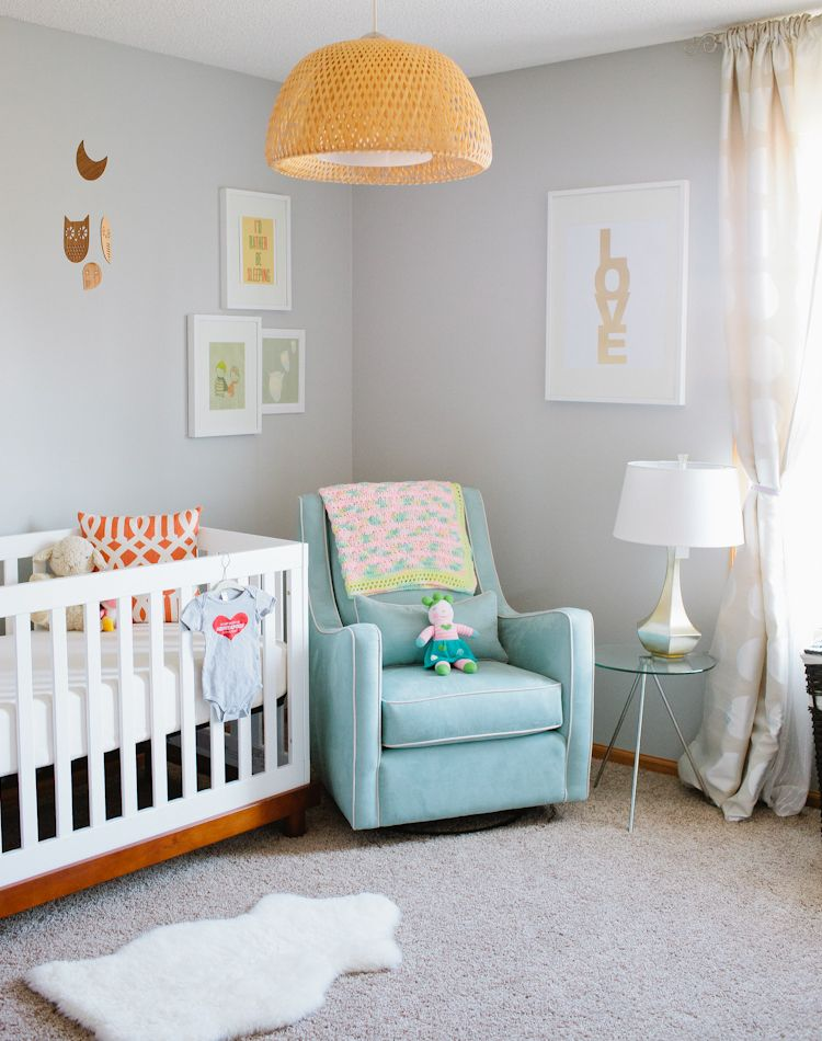 Beautiful nursery. The Love poster in background...  golden orange and the light blue are lovely together