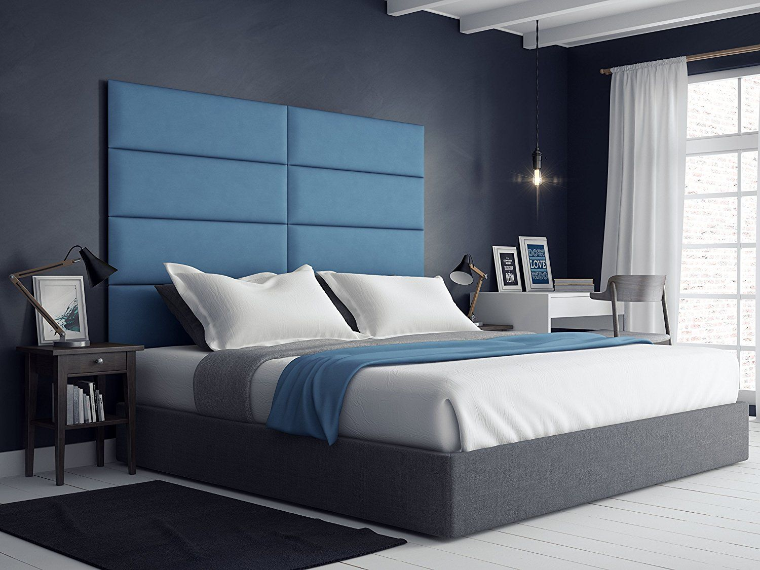 Rest easy surrounded in a cozy and padded suede blue kingsize headboard from @vanpanels! & Rest easy surrounded in a cozy and padded suede blue kingsize ... pillowsntoast.com