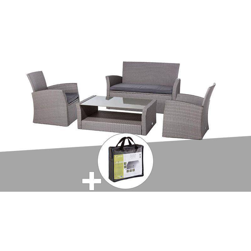Salon De Jardin En Resine Tressee Bora Bora Grege Avec Housse De Protection Hesperide 141452 146754 Outdoor Furniture Outdoor Chairs Home Decor