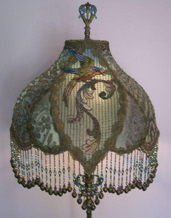 Antique French Chenille Metallic Parrot Applique Beaded Floor Lamp ...