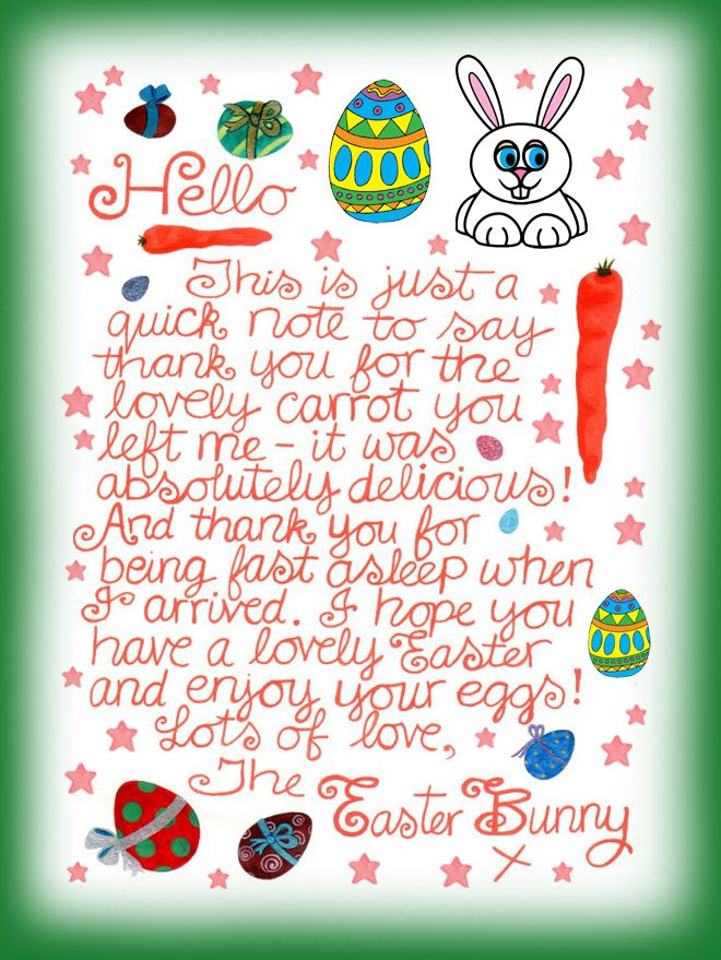 Note From The Easter Bunny Saying Thank You For The Carrot You