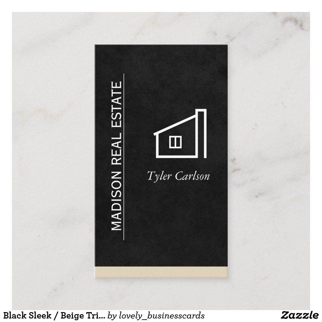 Black Sleek / Beige Trim / Home Logo Business Card