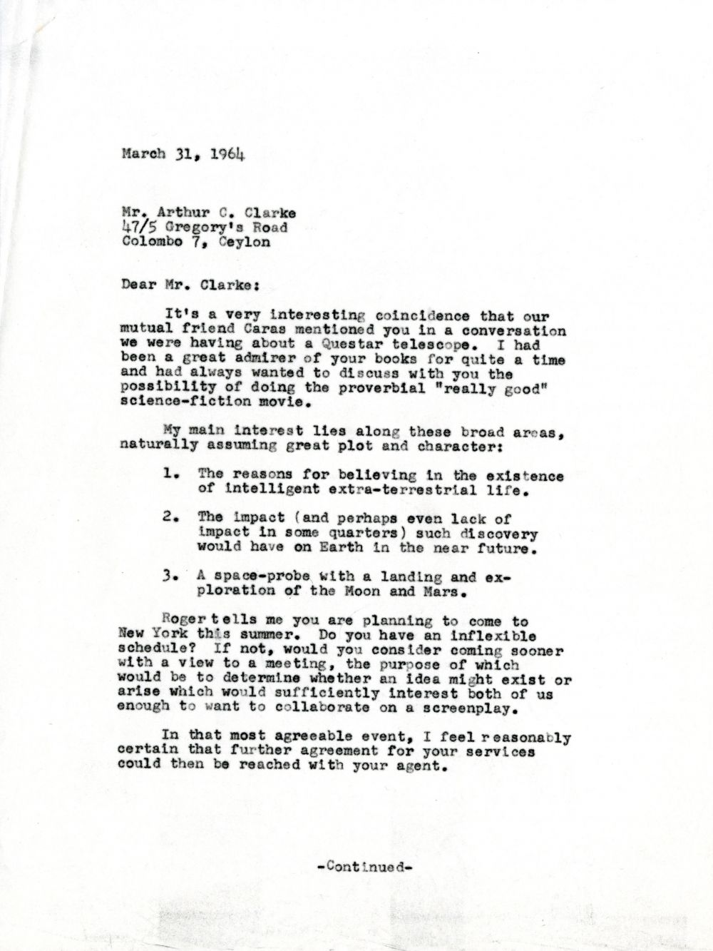 The Letter Between Stanley Kubrick  Arthur C Clarke That Sparked