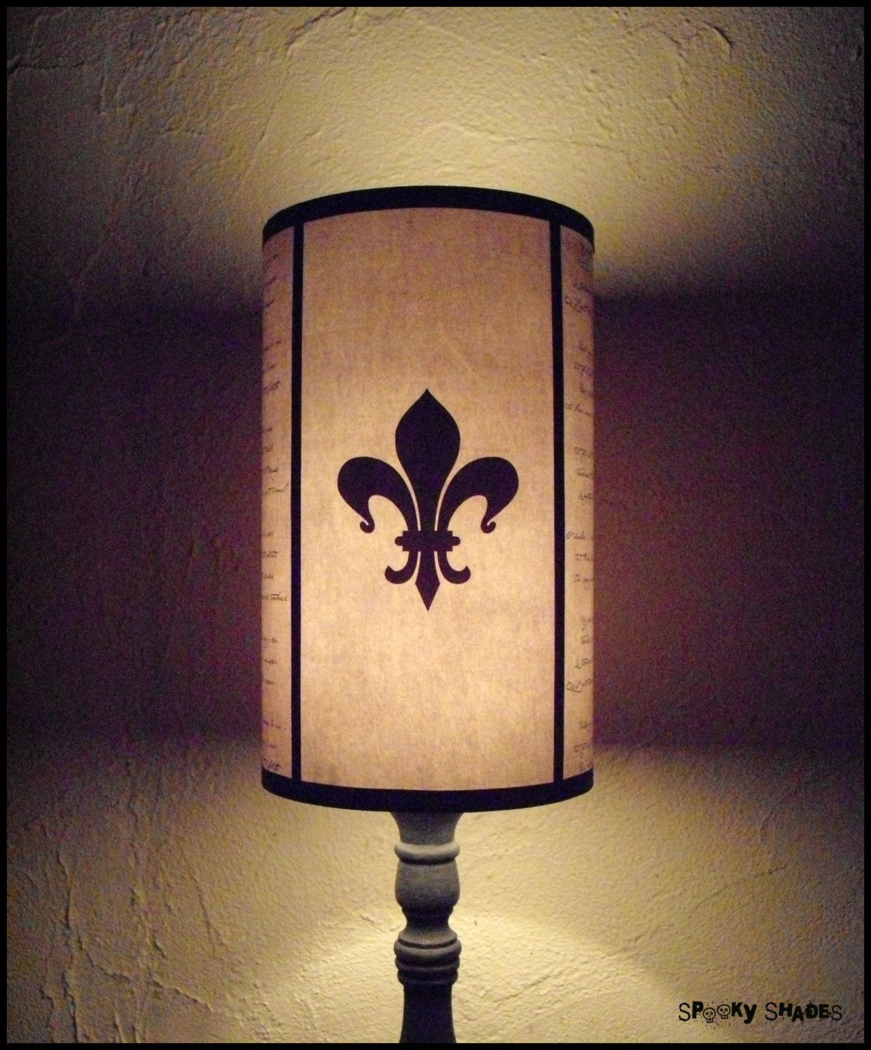 Evil Flowers Beige Fleur De Lis Lampshade Lamp Shade   Shabby Chic Decor,  French Country Decor, Beige Lamp Shade, Fleur De Lys, Calligraphy