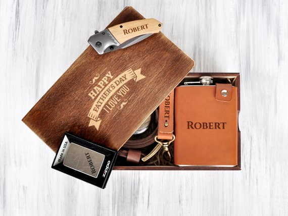 d02ce65e792fb Father Gift Anniversary Mens Gift Birthday Gift Set Personalized Gift Box  Mens Gift Box Set Engraved
