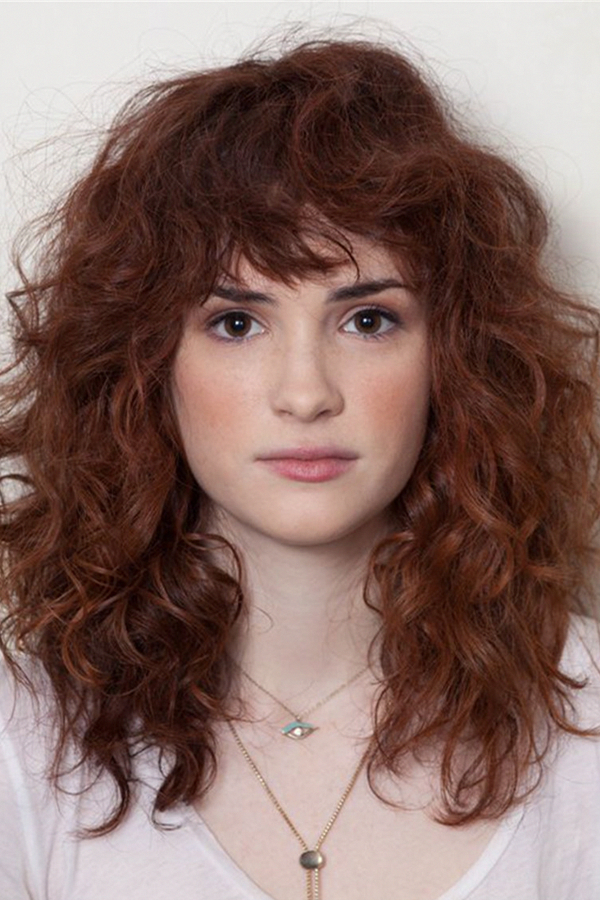 Trendy Layered Long Curly Hair Capless Synthetic Hair With Bangs Wigs 14 Inches
