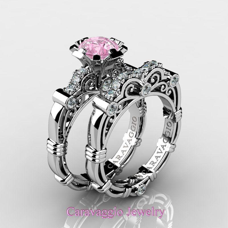 Gorgeous Caravaggio 14K White Gold 1.0 Ct Light Pink Sapphire Diamond Engagement Ring Wedding Band Set R623S-14KWGDLPS   ArtMastersJewelry