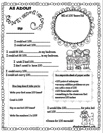 100th Day Worksheets Beach Sand Show And Tell Tuesday