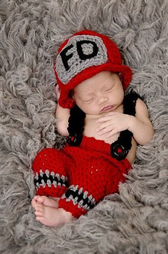 1b88518d265d Newborn Fireman Fire Fighter Baby Prop Knit Outfit - CCC241 ...