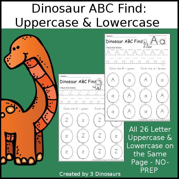 easy no prep dinosaur abc find uppercase lowercase easy no prep printables with a fun. Black Bedroom Furniture Sets. Home Design Ideas