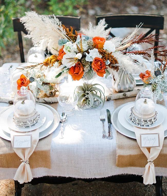 Elegant Fall Table Arrangements: Elegant & Organic Fall Wedding Inspiration