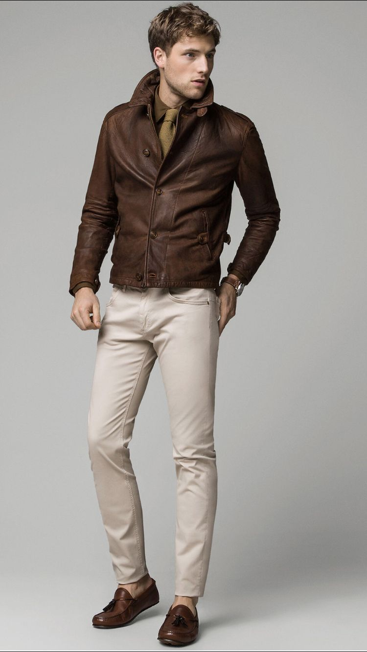 Nappa Leather Jacket With A Worn Effect Massimo Dutti Mens Fashion Casual Mens Winter Fashion Leather Jacket Outfit Men [ 1334 x 750 Pixel ]