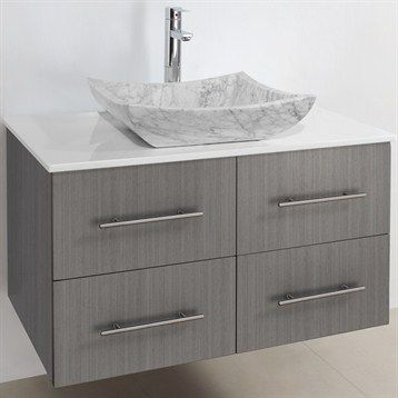 Contemporary Art Sites Bianca Wall Mounted Modern Bathroom Vanity Grey Oak Free Shipping