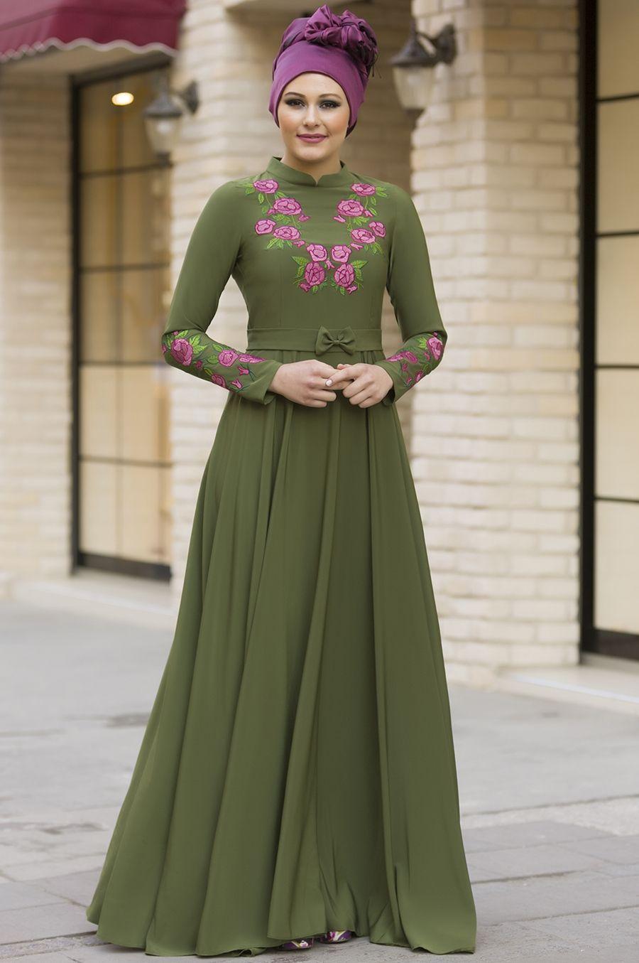 c631292c69256 Gizem Winter Begonya Dress Khaki | abaya | Elbise modelleri, Begonya ...