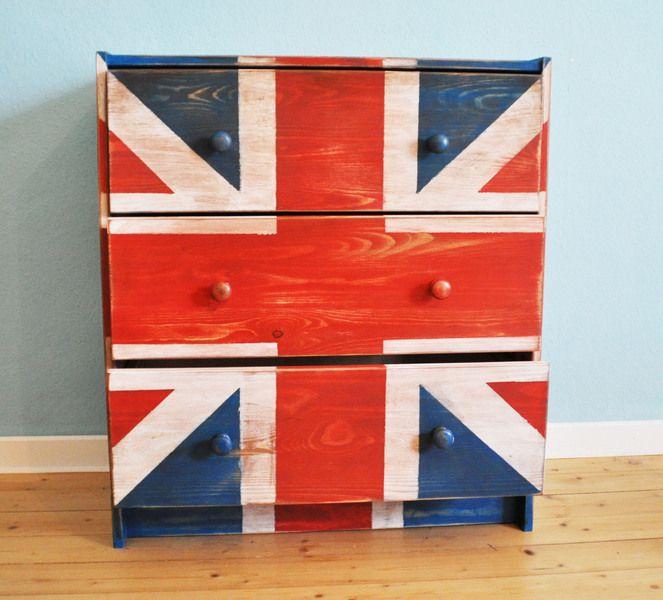Kleine Kommode Union Jack Vintage look von corazonconpatas auf DaWanda.com