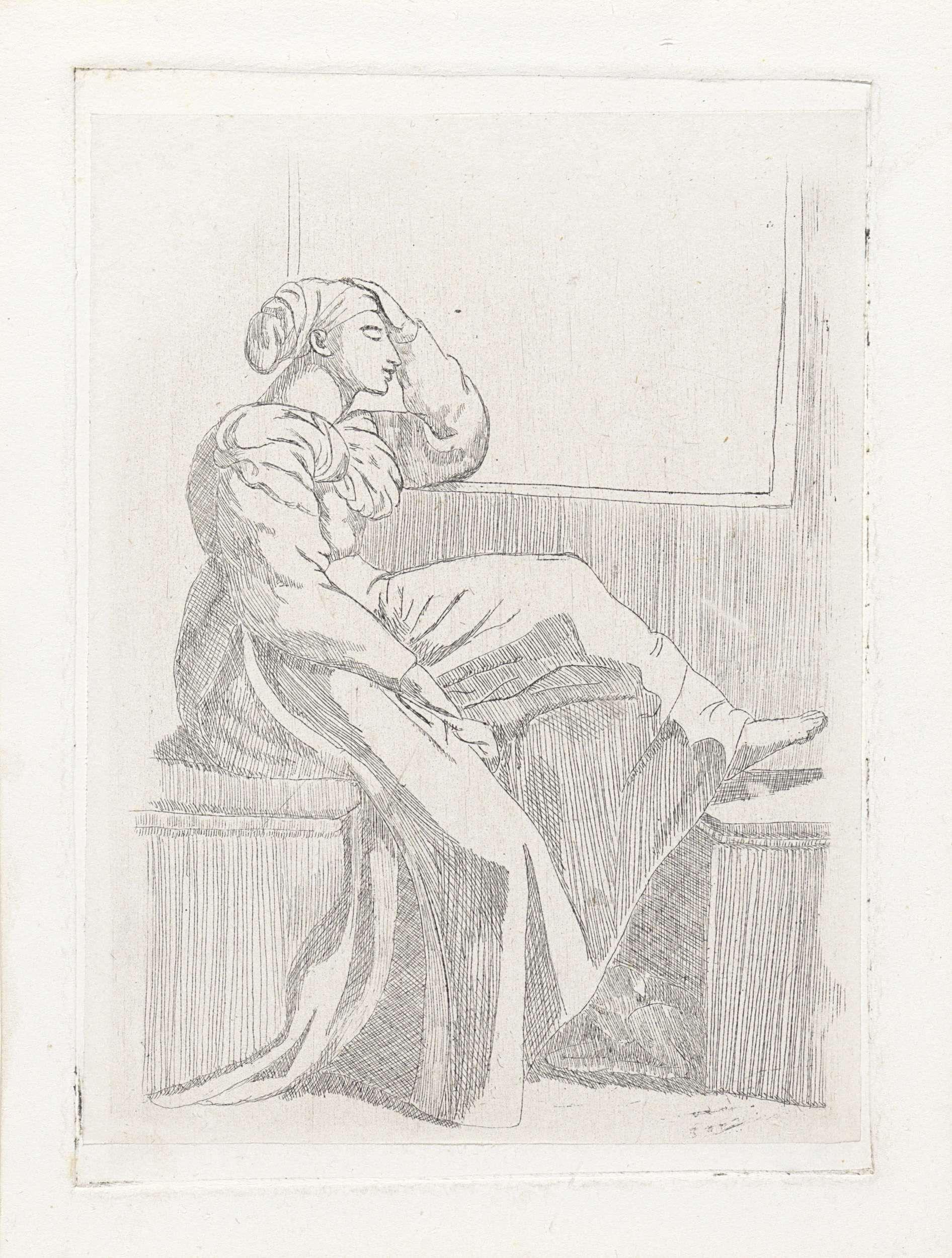 Zittende vrouw bij een open raam, Cornelia Marjolin-Scheffer, 1845 - 1899