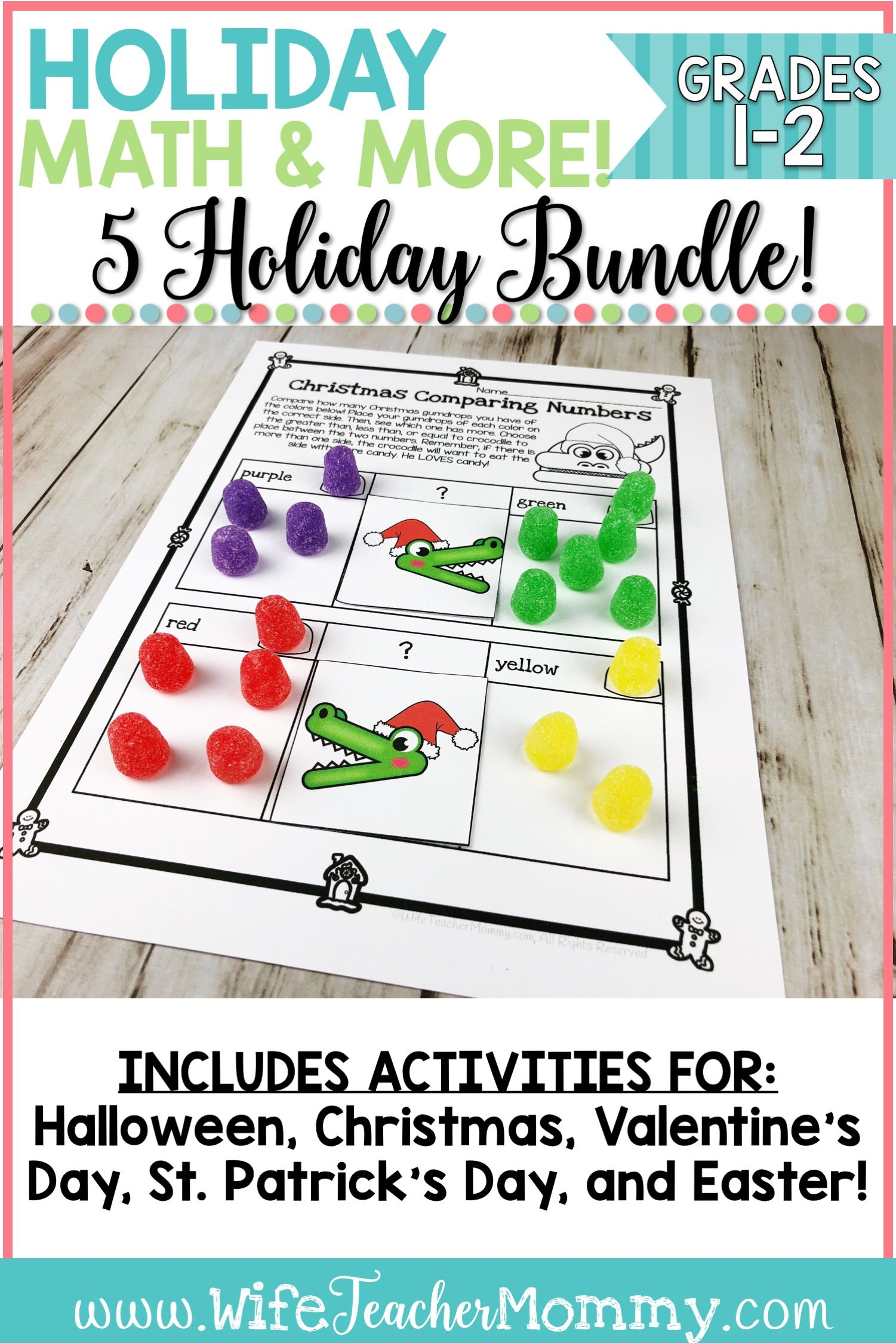 Holiday Math All Year Long Bundle For 1st And 2nd Grades