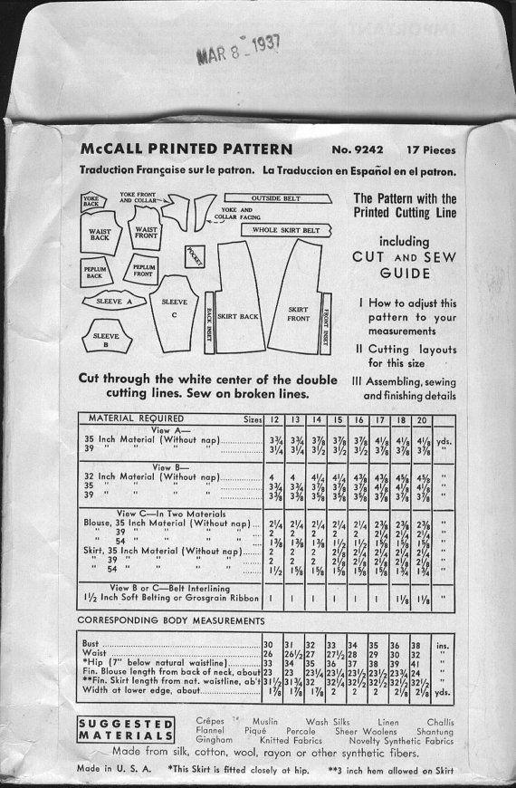 McCall Pattern 9242: 1937